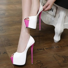 Women's Leatherette Stiletto Heel Platform Peep Toe shoes