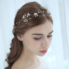 Ladies Shining Alloy Headbands With Venetian Pearl (Sold in single piece)