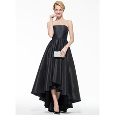 A-Line/Princess Scoop Neck Asymmetrical Taffeta Tulle Prom Dress With Beading Sequins