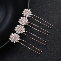 Ladies Classic Alloy Hairpins With Crystal (Set of 4)