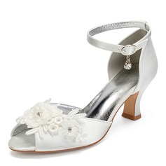 Women's Silk Like Satin Chunky Heel Peep Toe Sandals MaryJane With Rhinestone Stitching Lace Flower