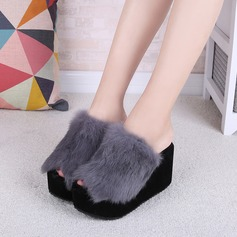 Women's Suede Wedge Heel Sandals Wedges Slippers With Fur shoes (087131903)