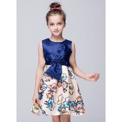 A-Line/Princess Short/Mini Flower Girl Dress - Polyester Sleeveless Scoop Neck With Bow(s)