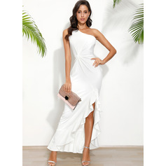 One Shoulder Sleeveless Sheath Maxi Dresses (293250258)