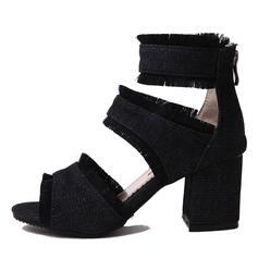 Femmes Toile Talon bottier Sandales Escarpins avec Zip chaussures