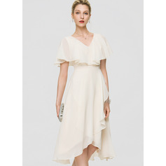 A-Line V-neck Asymmetrical Chiffon Bridesmaid Dress With Bow(s) Cascading Ruffles