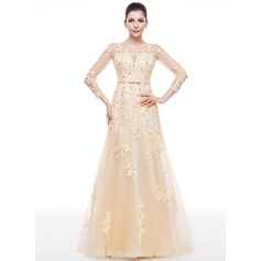 Trumpet/Mermaid Scoop Neck Floor-Length Tulle Evening Dress With Beading Appliques Lace Sequins Bow(s)