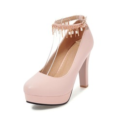 Women's Leatherette Stiletto Heel Pumps Platform With Tassel shoes