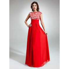 A-Line/Princess Scoop Neck Floor-Length Chiffon Holiday Dress With Ruffle Lace