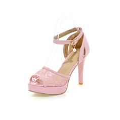 Women's Leatherette Stiletto Heel Sandals Pumps Platform Peep Toe With Imitation Pearl shoes