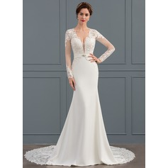 Trumpet/Mermaid V-neck Chapel Train Stretch Crepe Wedding Dress With Beading