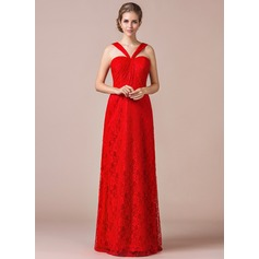 Sheath/Column V-neck Floor-Length Lace Bridesmaid Dress With Ruffle