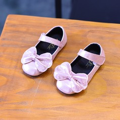 Girl's Sparkling Glitter Flat Heel Closed Toe Flats With Bowknot Sequin Velcro