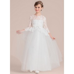 Ball Gown Floor-length Flower Girl Dress - Satin/Tulle/Lace 3/4 Sleeves Scoop Neck With Beading/Bow(s)