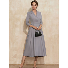 V-Neck 3/4 Sleeves Midi Dresses (293252127)
