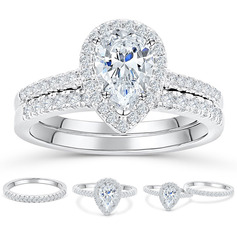 Sterling Silver Cubic Zirconia Halo Pear Cut Bridal Sets (289224768)