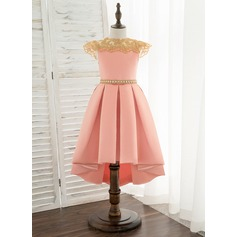 A-Line Asymmetrical Flower Girl Dress - Satin/Lace Sleeveless Scoop Neck With Rhinestone
