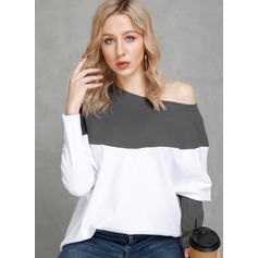 Long Sleeves Polyester One Shoulder Knit Blouses (1003223827)