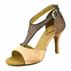 Women's Satin Sparkling Glitter Heels Latin With Buckle Hollow-out Dance Shoes