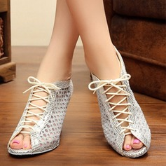 Women's Lace Flats Sneakers Practice With Hollow-out Lace-up Dance Shoes