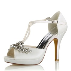 Женщины шелка как атласное Высокий тонкий каблук Платформа На каблуках Сандалии с хрусталь