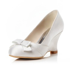 Women's Satin Wedge Heel Closed Toe Pumps Wedges With Bowknot
