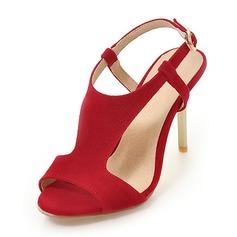 De mujer Ante Tacón stilettos Sandalias Salón Encaje Solo correa con Hebilla zapatos