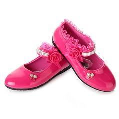 Girl's Leatherette Flat Heel Closed Toe Flats With Satin Flower Sequin