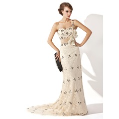 A-Line/Princess One-Shoulder Sweep Train Lace Mother of the Bride Dress With Ruffle Beading Sequins