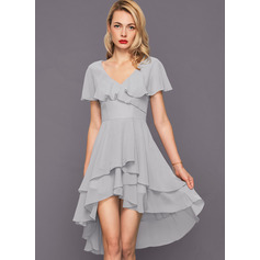 V-neck Asymmetrical Chiffon Cocktail Dress (270214061)