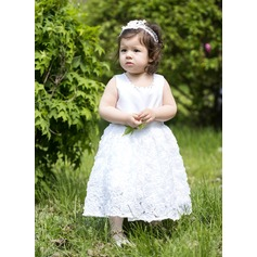 A-Line/Princess Tea-length Flower Girl Dress - Satin Sleeveless Scoop Neck With Beading/Flower(s)/Bow(s)
