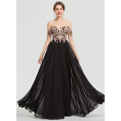 A-Linie Off-the-Schulter Bodenlang Chiffon Ballkleid