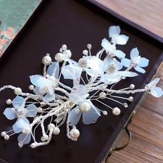Alloy/Silk Flower Hairpins With Rhinestone/Venetian Pearl (Sold in single piece)