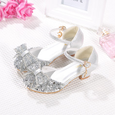 Girl Closed Toe Microfiber Leather Flower Girl Shoes With Bowknot Rhinestone