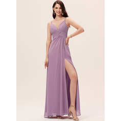 A-Line Sweetheart Floor-Length Chiffon Bridesmaid Dress