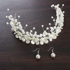 Beautiful Alloy/Imitation Pearls Tiaras/Headbands (Set of 2)