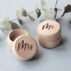 """Mr. & Mrs.""/Woodland Wood Ring Box (Set of 2)"