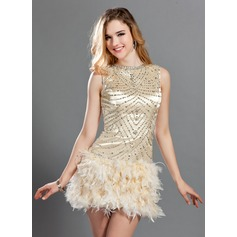 A-Line/Princess Scoop Neck Short/Mini Charmeuse Feather Cocktail Dress With Beading