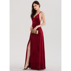 A-Line/Princess V-neck Floor-Length Velvet Prom Dresses With Split Front (018138337)