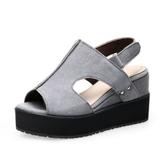 Women's Suede Wedge Heel Sandals Slingbacks shoes