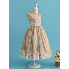 Ball-Gown/Princess Tea-length Flower Girl Dress - Lace/Sequined Sleeveless Scoop Neck
