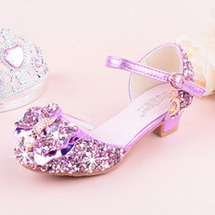Girl's Round Toe Closed Toe Leatherette Sparkling Glitter Low Heel Flats Flower Girl Shoes With Bowknot (207185204)
