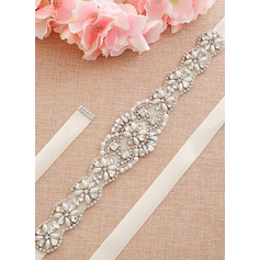Unique Satin Sash With Rhinestones/Imitation Pearls (015233298)