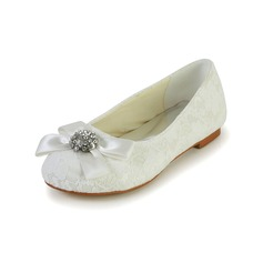 Girl's Closed Toe Lace Satin Flat Heel Flats Flower Girl Shoes With Bowknot Rhinestone