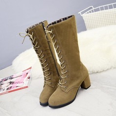 Women's Suede Chunky Heel Pumps Boots Mid-Calf Boots With Ribbon Tie Zipper shoes