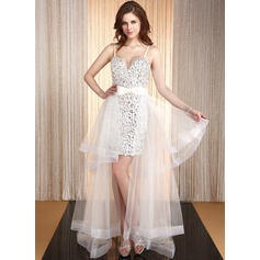 A-Line/Princess Sweetheart Asymmetrical Satin Organza Prom Dress With Beading