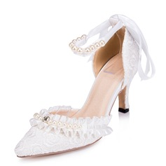 Women's Lace Satin Stiletto Heel Closed Toe Pumps