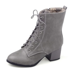 Women's Leatherette Rubber Chunky Heel Closed Toe Boots Mid-Calf Boots Martin Boots Riding Boots With Lace-up shoes (088182642)