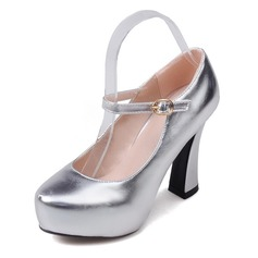 Women's Leatherette Chunky Heel Pumps Closed Toe shoes (085092738)