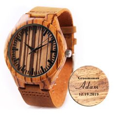 Groomsmen Gifts - Personalized Mens Custom Engraved Leather Zebra Wood Watches